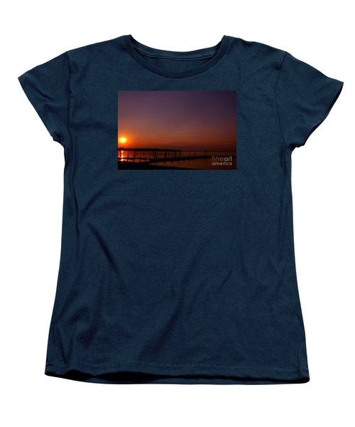 The Sun Sets Over The Water Women's T-Shirt (Standard Cut) by Clayton Bruster