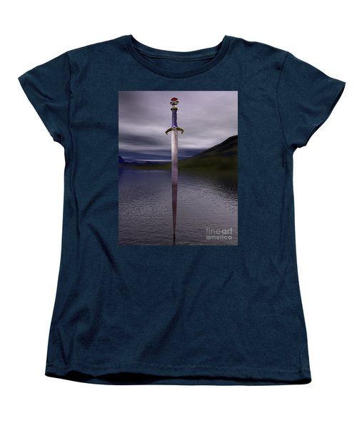 The Sword Excalibur On The Lake Women's T-Shirt (Standard Cut)