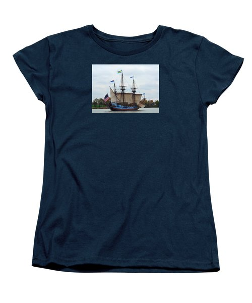The Tall Ship Kalmar Nyckel Women's T-Shirt (Standard Cut) by Richard Ortolano