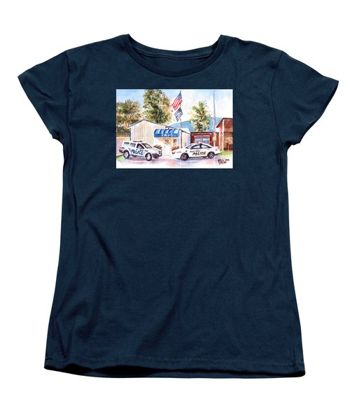 Women's T-Shirt (Standard Cut) featuring the painting The Thin Blue Line by Kip DeVore