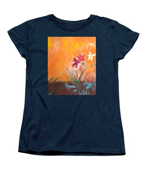 Women's T-Shirt (Standard Cut) featuring the painting The Three Daisies by Winsome Gunning