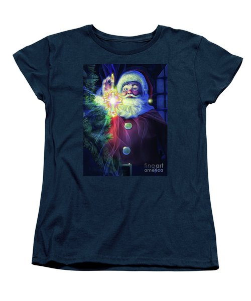 Women's T-Shirt (Standard Cut) featuring the painting The True Spirit Of Christmas - Bright by Dave Luebbert
