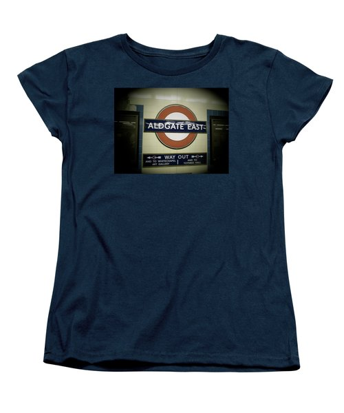 Women's T-Shirt (Standard Cut) featuring the photograph The Tube Aldgate East by Christin Brodie