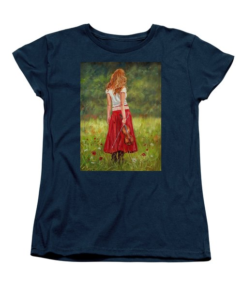 The Violinist Women's T-Shirt (Standard Cut) by David Stribbling