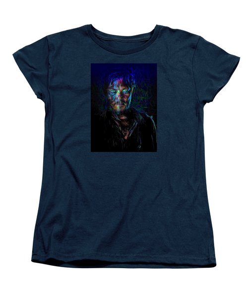 The Walking Dead Daryl Dixon Painted Women's T-Shirt (Standard Cut) by David Haskett