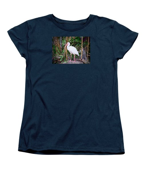 Women's T-Shirt (Standard Cut) featuring the painting The White Ibis by Judy Kay