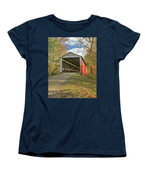 Women's T-Shirt (Standard Cut) featuring the photograph The Wilkins Mill Covered Bridge by Harold Rau