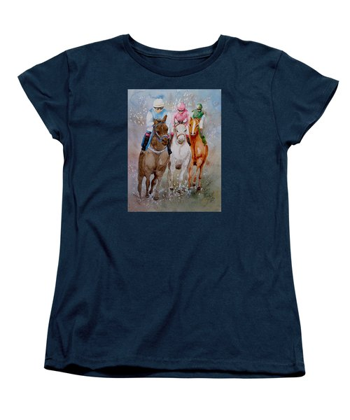 Women's T-Shirt (Standard Cut) featuring the painting They're Off by Marilyn Zalatan