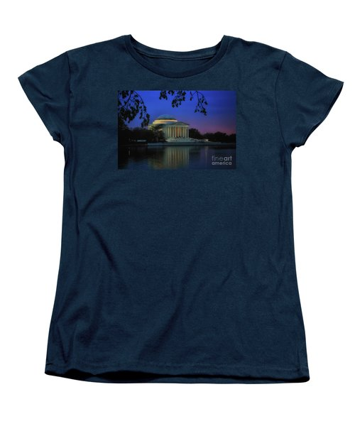 Thomas Jefferson Memorial Sunset Women's T-Shirt (Standard Cut) by Elizabeth Dow