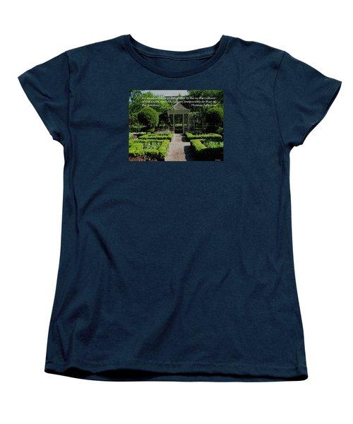 Thomas Jefferson On Gardens Women's T-Shirt (Standard Cut) by Deborah Dendler