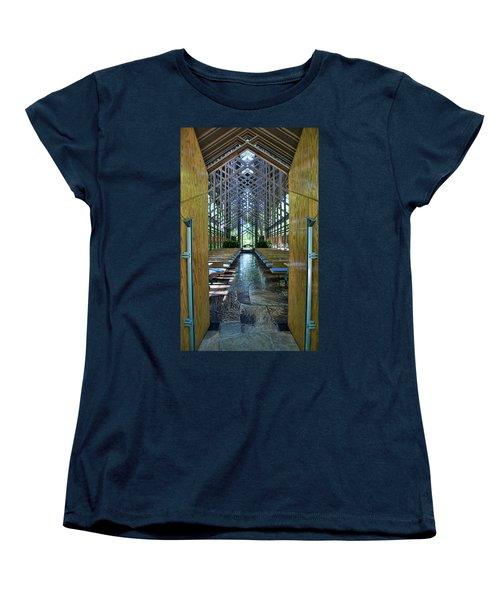 Women's T-Shirt (Standard Cut) featuring the photograph Thorncrown Chapel Entrance by Cricket Hackmann