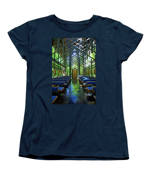 Women's T-Shirt (Standard Cut) featuring the photograph Thorncrown Chapel Serenity by Cricket Hackmann