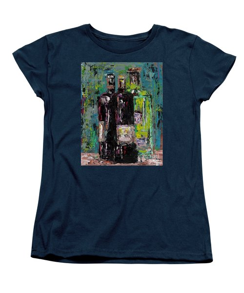 Three Bottles Of Wine Women's T-Shirt (Standard Cut) by Frances Marino