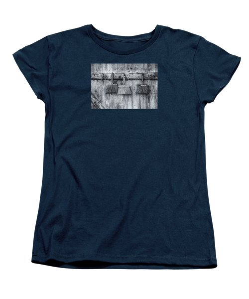 Women's T-Shirt (Standard Cut) featuring the photograph Three Brushes Black And White by Tom Singleton