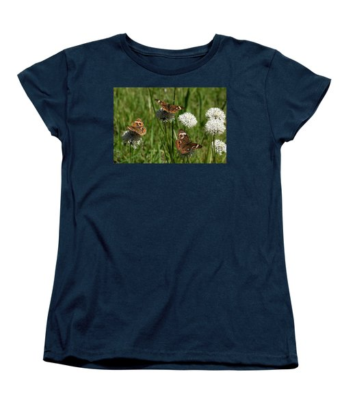 Three Buckeye Butterflies On Wildflowers Women's T-Shirt (Standard Cut) by Sheila Brown