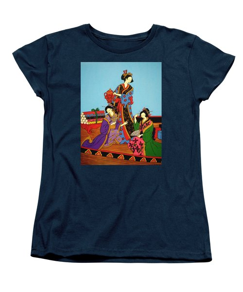 Women's T-Shirt (Standard Cut) featuring the painting Three Geishas by Stephanie Moore