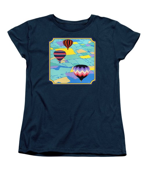 Three Hot Air Balloons Arial Absract Landscape - Square Format Women's T-Shirt (Standard Fit)