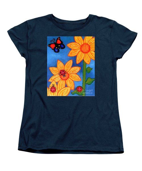 Three Ladybugs And Butterfly Women's T-Shirt (Standard Cut) by Genevieve Esson