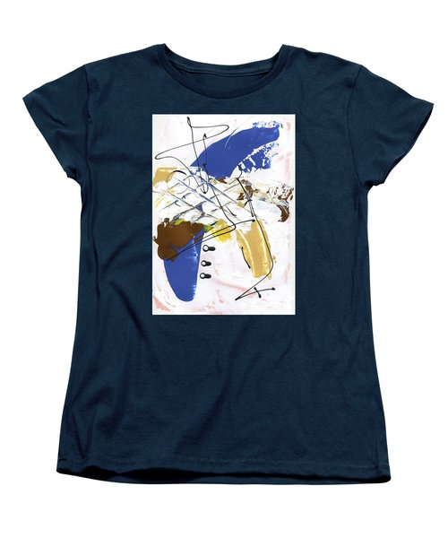 Women's T-Shirt (Standard Cut) featuring the painting Three Color Palette Blue 3 by Michal Mitak Mahgerefteh