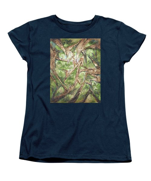 Women's T-Shirt (Standard Cut) featuring the mixed media Through Lacy Branches by Angela Stout