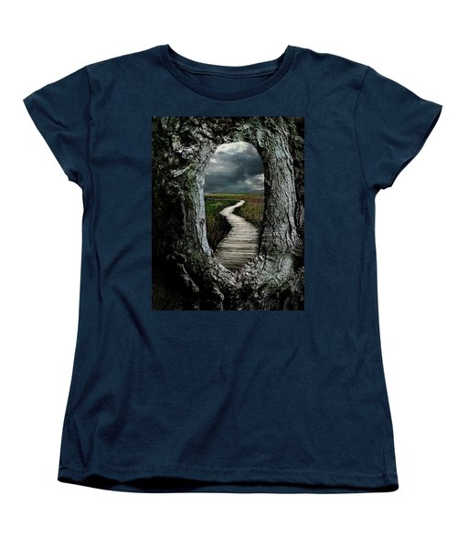 Through The Knot Hole Women's T-Shirt (Standard Cut) by Rick Mosher