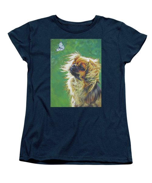 Tibetan Spaniel And Cabbage White Butterfly Women's T-Shirt (Standard Cut) by Lee Ann Shepard
