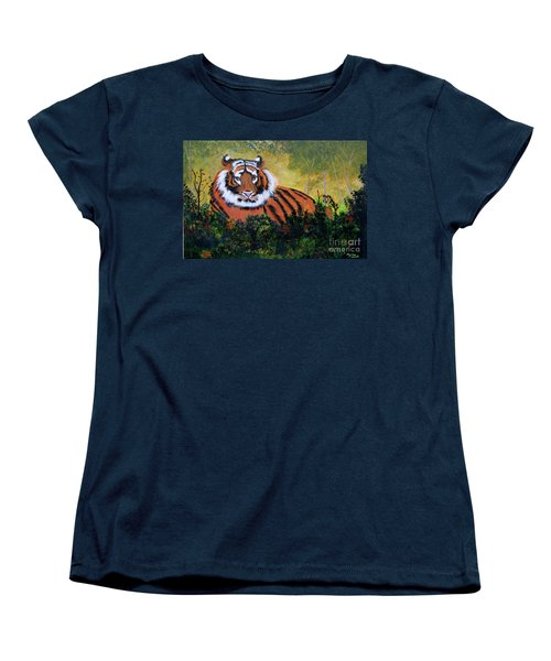 Women's T-Shirt (Standard Cut) featuring the painting Tiger At Rest by Myrna Walsh