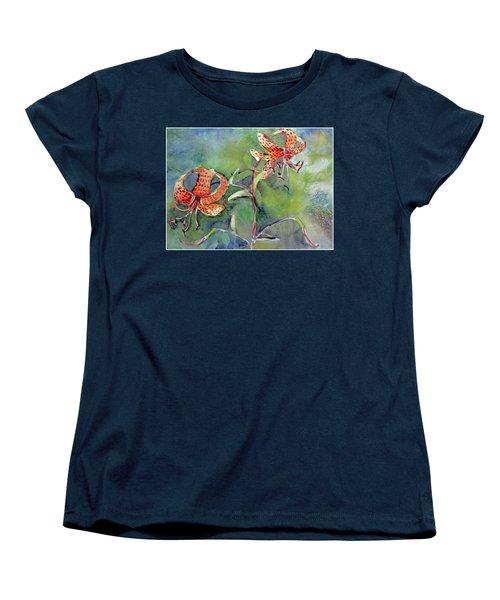 Tiger Lilies Women's T-Shirt (Standard Cut) by Mindy Newman