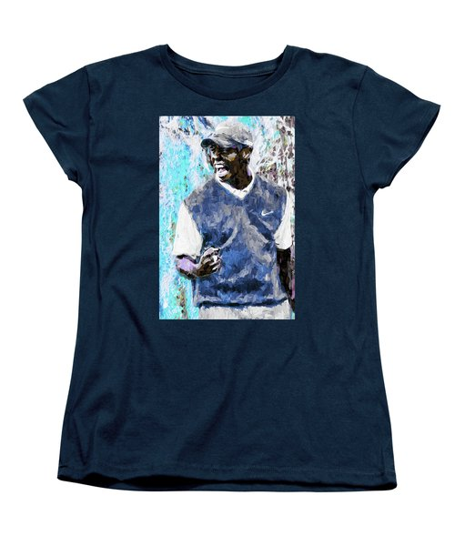Tiger Says Digital Painting Golf Women's T-Shirt (Standard Cut) by David Haskett