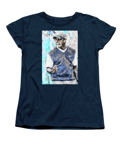 Tiger Woods One Blue Golfer Digital Art Women's T-Shirt (Standard Cut) by David Haskett