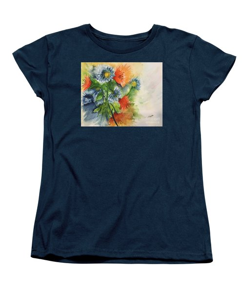 Tigerlilies And Cornflowers Women's T-Shirt (Standard Cut) by Lucia Grilletto