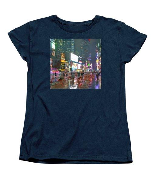 Times Square Red Rain Women's T-Shirt (Standard Cut) by Jeffrey Friedkin