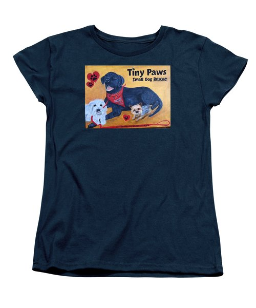 Women's T-Shirt (Standard Cut) featuring the painting Tiny Paws Small Dog Rescue by Sharon Schultz