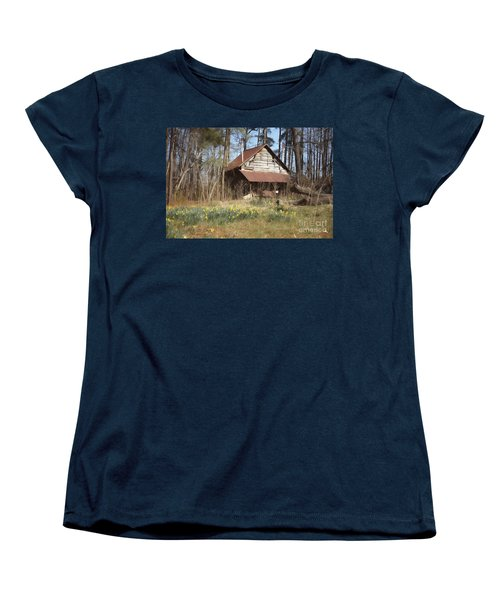 Women's T-Shirt (Standard Cut) featuring the photograph Tobacco Barn In Spring by Benanne Stiens