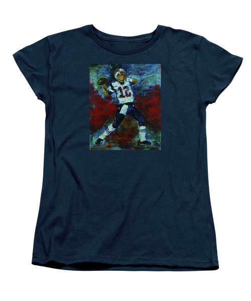 Women's T-Shirt (Standard Cut) featuring the painting Tom Brady - Patriot Football by Walter Fahmy