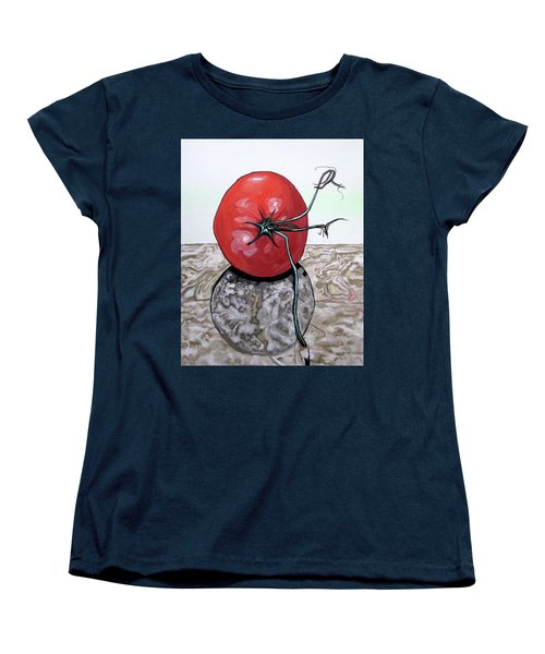 Tomato On Marble Women's T-Shirt (Standard Cut) by Mary Ellen Frazee