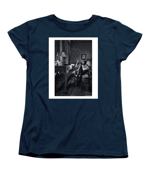 Topless Girl Posing At Desk In Hotel Room Women's T-Shirt (Standard Cut) by Michael Edwards
