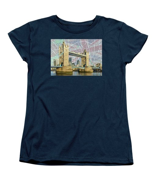 Women's T-Shirt (Standard Cut) featuring the digital art Tower Bridge With Union Jack by Adam Spencer