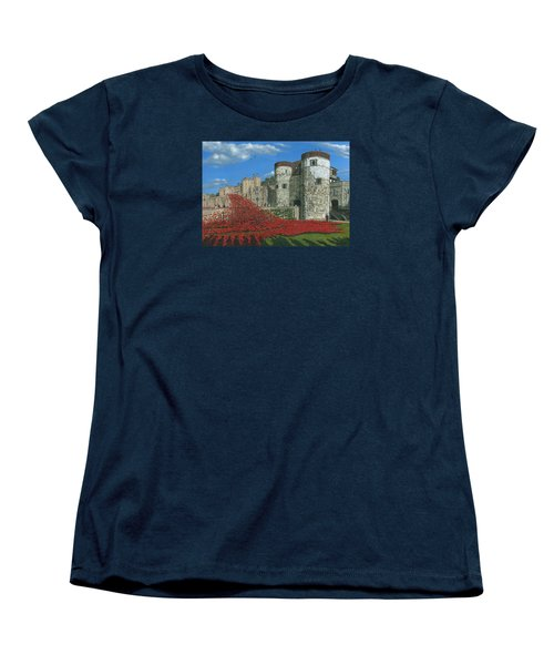 Tower Of London Poppies - Blood Swept Lands And Seas Of Red  Women's T-Shirt (Standard Cut) by Richard Harpum