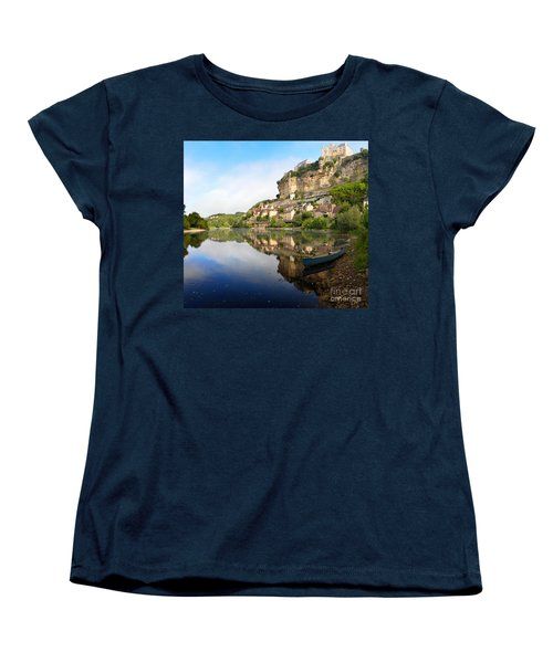 Town Of Beynac-et-cazenac Alongside Dordogne River Women's T-Shirt (Standard Cut) by IPics Photography
