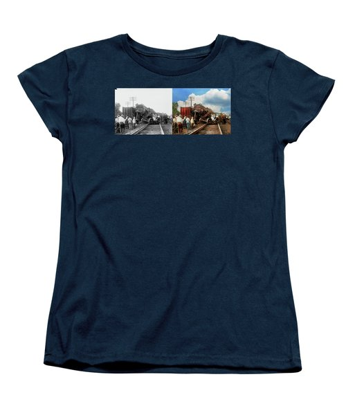 Women's T-Shirt (Standard Cut) featuring the photograph Train - Accident - Butting Heads 1922 - Side By Side by Mike Savad