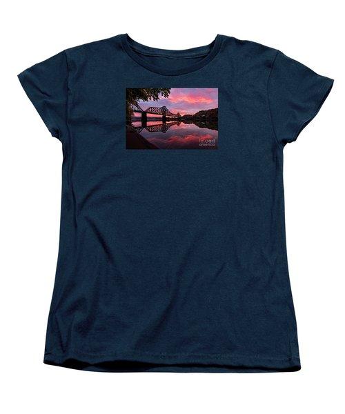 Train Bridge At Sunrise  Women's T-Shirt (Standard Cut) by Emmanuel Panagiotakis