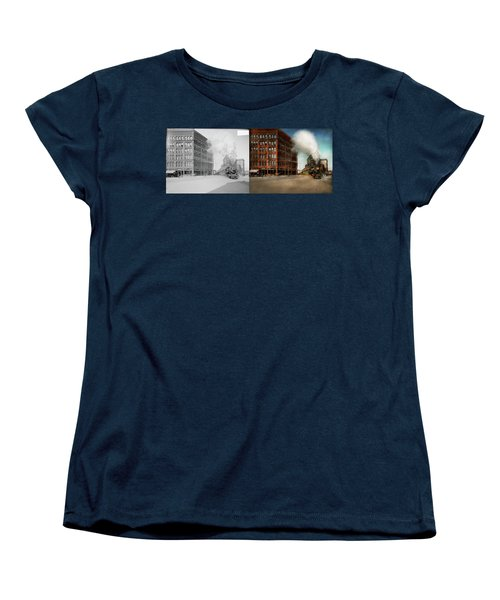 Women's T-Shirt (Standard Cut) featuring the photograph Train - Respect The Train 1905 - Side By Side by Mike Savad