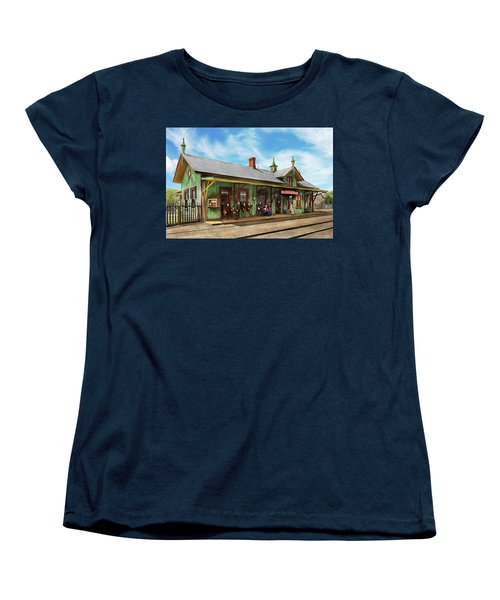 Women's T-Shirt (Standard Cut) featuring the photograph Train Station - Garrison Train Station 1880 by Mike Savad
