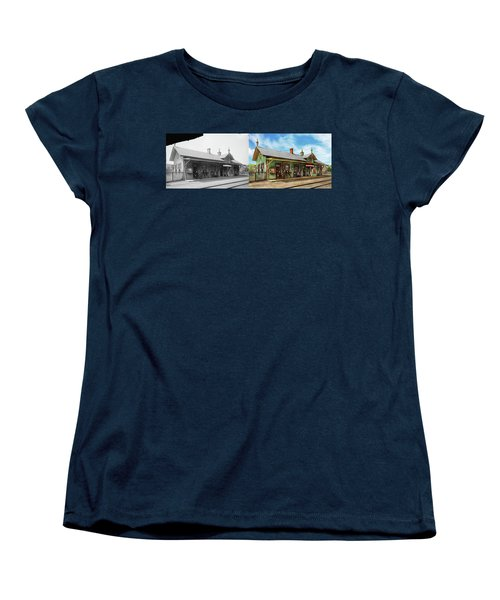 Women's T-Shirt (Standard Cut) featuring the photograph Train Station - Garrison Train Station 1880 - Side By Side by Mike Savad