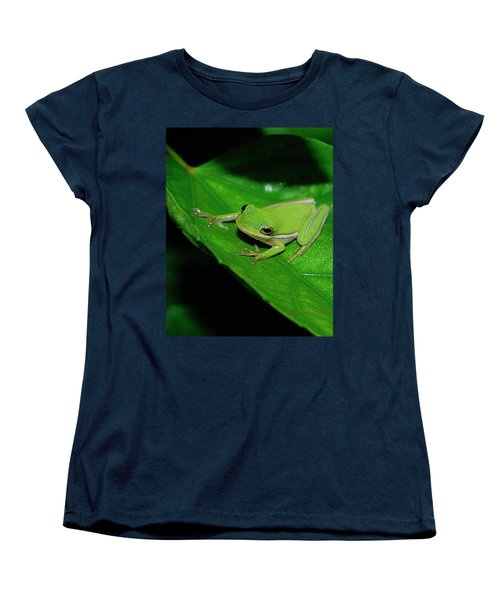 Tree Frog On Hibiscus Leaf Women's T-Shirt (Standard Cut) by DigiArt Diaries by Vicky B Fuller