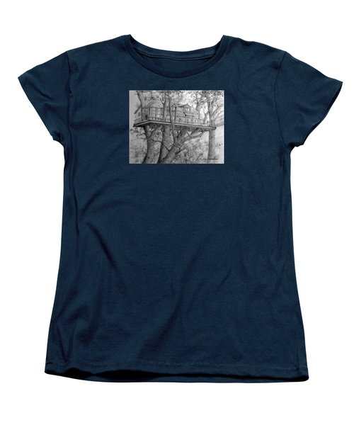 Women's T-Shirt (Standard Cut) featuring the drawing Tree House #4 by Jim Hubbard