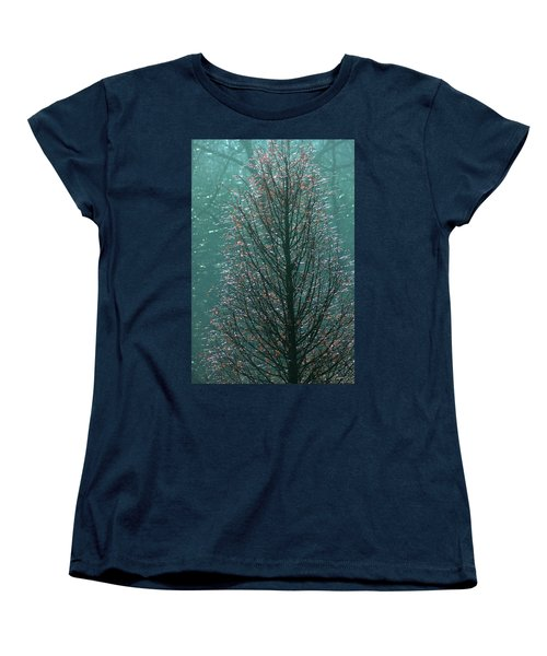 Tree In Autumn, With Red Leaves, Blue Background, Sunny Day Women's T-Shirt (Standard Cut) by Emanuel Tanjala