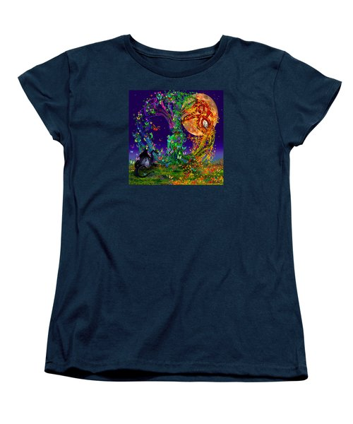 Tree Of Life With Owl And Dragon Women's T-Shirt (Standard Cut) by Michele Avanti