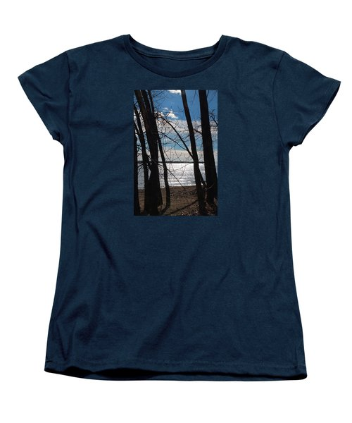 Women's T-Shirt (Standard Cut) featuring the photograph Trees And Lake Reflections by Valentino Visentini